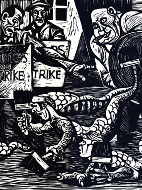 detail from Domingo Ulloa's 'Painters On Strike,' 1948